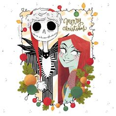 is it too early for christmas cards? well, this one will be sold as a print in ccxp (the brazilian comic con) and it's actually a digital… Disney Merry Christmas, Christmas Cards, Tim Burton Characters, Spyro The Dragon, Ghost Cat, Jack And Sally, Special Quotes, The Villain, Jack Skellington