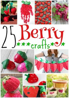 These berry crafts are so sweet you can almost taste 'em! Fun Crafts To Do, Summer Crafts, Cute Crafts, Crafts For Kids, Diy Crafts, Strawberry Crafts, Strawberry Art, Strawberry Shortcake, Daycare Crafts