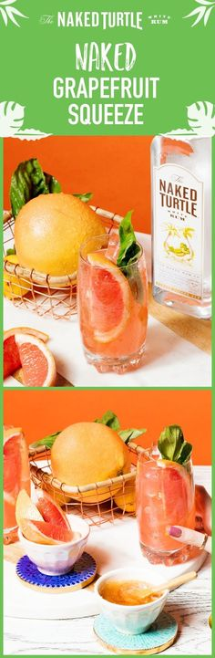Summer is here, so squeeze in some happy hour time with our crystal clear rum & fresh cocktail ingredients! First up? The Naked Grapefruit Squeeze! It's the perfect recipe for the beach, a pool party, a backyard bbq or brunch! To make, first fill up a cocktail shaker with ice. Add 1.5 oz. Naked Turtle White Rum, 3 basil leaves, and 4 oz. freshly squeezed grapefruit juice. Shake well and strain into a tall glass with ice. Garnish with additional basil leaf and grapefruit wedge.