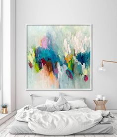 GICLEE print, abstract painting up to 40x40, extra large wall art, Abstract Art, canvas art, Blue, aqua Title: Cloudy This is an Inkjet Abstract Painting Print, a Fine Art Giclée reproduction of our original abstract painting. Our painting Abstract Painting Prints are up to size 40x40