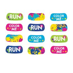 Add some color under each eye with the color run eyeblack face tattoos. - OrientalTrading.com