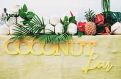 whole coconuts as escort cards