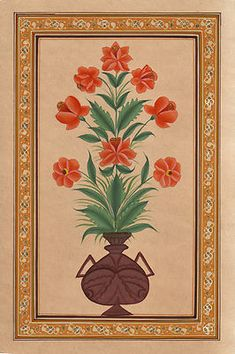 Mughal-Floral-Flower-Miniature-Painting-Watercolor. From the 17th century onwards, under the Mughal dynasty, flower and leaf forms became a popular art subject. This is partly due to the personal taste of the Mughal emperor Jahangir (1605-1627) who had a great love of nature and was very interested in capturing plants and animals on paper.