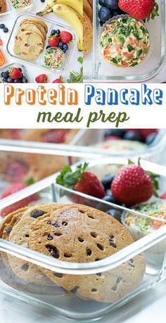 Protein Pancake Meal Prep - 26 grams of protein per 4 pancake serving! Make breakfast easy.