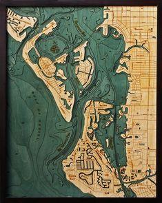 Siesta Key and Sarasota, Florida Wood Map