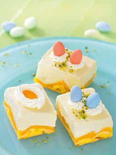 Pfirsich-Quark-Schnitte - Fruchtiger Pfirsich-Quarkkuchen vom Blech zum Osterfest