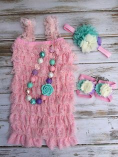 Baby Pink and Pastel Lace Romper 4 pc Set Cake Smash, First Birthday, Photography Prop, Chunky Necklace - Petti Romper - Bubblegum on Etsy, $40.00