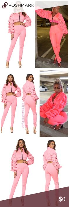 PINK PANTS SET BRAND NEW!!  Two Piece Pants Set Long Sleeve Ruffle Sleeve Crop Top Other