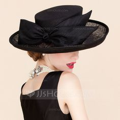 FS Royal Wedding Hat Linen Black Church Fedora For Women Large Wide Brimmed Bowknot Ladies Dress Sinamay Kentucky Derby Hats Chapeaux Pour Kentucky Derby, Kentucky Derby Hats, Sombrero A Crochet, Hat Crochet, Batiste, Cheap Hats, Wide Brim Sun Hat, Tea Party Hats, Fascinator Hats