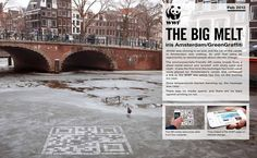Environmentally-friendly QR codes were graffitied on Amsterdam's frozen canals and contained a link to the WWF site with info on the melting ice caps. Such a genius idea!  Cool campaign!