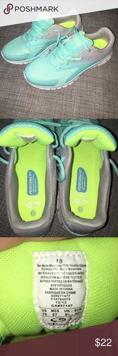 "Champion C9 running shoes gray & turquoise (it was described as ""mint"" on the box) running shoes. worn once on the treadmill but they don't fit my feet right. small spot on back of right shoe - price adjusted accordingly. Champion Shoes Sneakers"