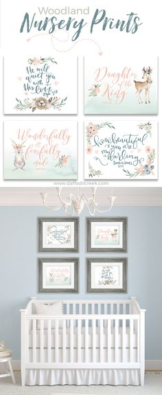 The sweetest nursery prints for a little girl's woodland nursery! I just love these!!