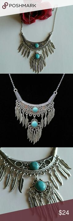 """Tibetan Silver Turquoise stones feathers Necklace Chain length: 22"""" Pendant: 3 1/2"""" x 3""""  Brand New with Tags   #nativeamerican inspired   #boho No Brand  Jewelry Necklaces"""