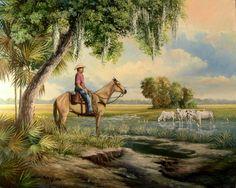 Cracker Cowboys of Florida | Florida Cracker Cowboys Day Off Painting
