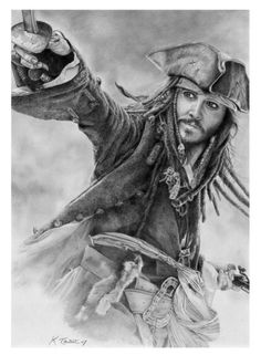 Awesome portrait of Captain Jack Sparrow from Pirates of the Caribbean movie.