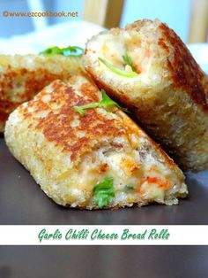 Garlic Chilli Cheese Bread Rolls I told you, I have chosen the best recipes. Just like you can see from the list. All of them are easy and delicious, believe me, they are fabulous. Brunch Recipes, Breakfast Recipes, Snack Recipes, Cooking Recipes, Easy Iftar Recipes, Bread Recipes, Cheese Recipes, Veg Recipes, Breakfast Casserole