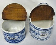 old salt boxes.My grandma kept one just like this- with an old silver spoon in it- next to her kitchen stove! - Salt Box - Ideas of Salt Box Vintage Kitchenware, Vintage Glassware, Spice Labels, Spice Containers, Spice Storage, Salt Box, Stoneware Crocks, Kitchen Stove, Blue And White China