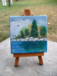 Along the Riverside Mini Canvas and Easel OOAK by ChunkyChicks