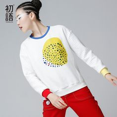 Toyouth 2017 Winter Sweatshirts Women New O-Neck Color Contrast Long Sleeve Pullovers Thick Tops