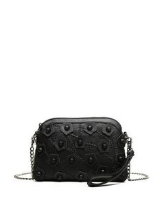 c58e074f0e4e Black Leather Casual Zipper Appliqued Crossbody Bag