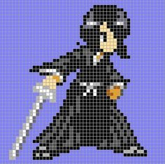 This is some anime characters made in minecraft (pixel art)