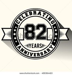 82 years anniversary logo, 82nd anniversary sign, retro design.