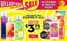 Bath and Body Works Semi-Annual sale is ON!  Don't forget to check your inbox for a $10 off $40 coupon!