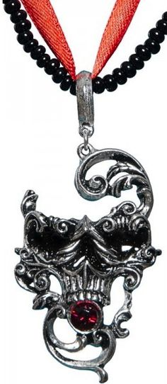 ☆ Venetian Mask of Death Skull Necklace = By Alchemy Gothic :¦: Shop: The Black Angel ☆