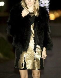 Robert Rodriguez Distressed Black and Gold Sequin Dress