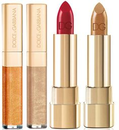 Dolce & Gabbana The Essence of Holidays 2015 Collection   D&G Classic Cream Lipstick – Limited Edition 628 Dora (New) 70 Gold,  D&G Sheer Shine Gloss – Limited Edition 40 Pearl Shine, 160 Gold