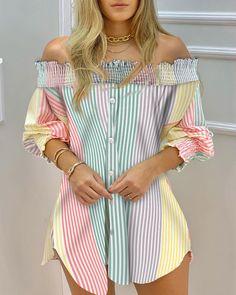Trend Fashion, Look Fashion, Como Fazer Short, Chic Type, Look Blazer, Blouse Dress, Color Stripes, Womens Fashion Online, Casual Tops