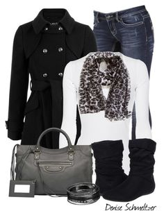 """Leopard Print Scarf"" by denise-schmeltzer ❤ liked on Polyvore featuring Splendid, Report and Balenciaga"