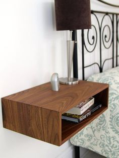 Floating Nightstand, Bedside Table, Mid Century Modern Style in Solid Walnut, White Oak or Ash