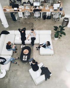 42 Relaxing Modern Office Space Design Ideas - Office & Workspace - Home Office Open Space Office, Creative Office Space, Office Space Design, Modern Office Design, Workspace Design, Office Workspace, Office Interior Design, Office Interiors, Office Designs