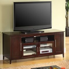 "Techcraft SHK6428E 64"" TV Stand Storage Cabinet in Espresso $500"
