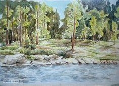 Il lago nel bosco (acquerello su seta)