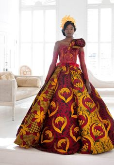 African wedding dresses by Vlisco - become a unforgettable bride African print, patterns, fabrics & fashion. Ankara styles, Kente and Dutch wax. Wedding Attire For Women, African Wedding Attire, African Attire, African Wear, African Dress, African Weddings, Nigerian Weddings, African Wedding Dress Designers, African Prom Dresses