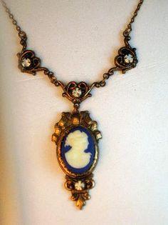 Antique Late Victorian Blue Glass Cameo Pendant Necklace