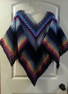 Zigzag Striped Poncho By Jennifer Fern McDaniel - Crochet Pattern  FOR SALE- (ravelry)