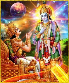 Bhagavad Gita- Lord Krishna reveals His Visvaswarupa form to Arjuna. Shree Krishna, Krishna Art, Radhe Krishna, Krishna Mantra, Ganesha Art, Krishna Painting, Krishna Images, Bhagavad Gita, Lord Vishnu