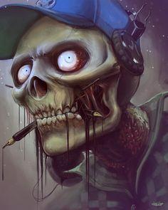 I love Art ,Horror and other nice things. Zombie Kunst, Art Zombie, Arte Horror, Horror Art, Dark Fantasy, Fantasy Art, Totenkopf Tattoos, Psy Art, Skull Artwork