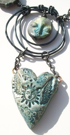 Lunas Nocturnal Embrace   handmade mixedmedia necklace by GeneaCK
