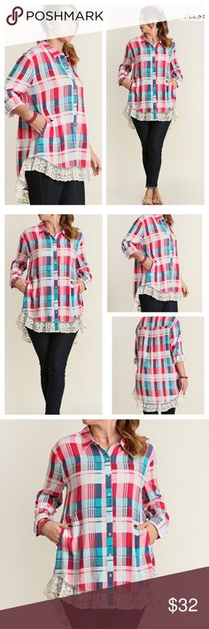 ADORABLE PLAID TOP! Great looking plaid button down with pretty lace hem. Slight high low design, side pockets Polyester/cotton. Measurements upon request. tla2 Tops Button Down Shirts