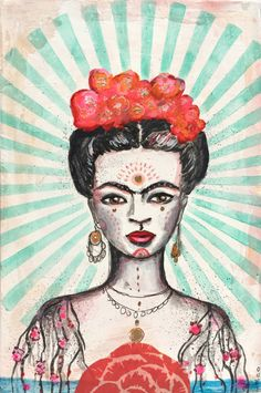 Frida original painting by  outi harman available in her #Etsy shop #outiart $165.  what a steal for a fab likeness of one of my herions [and yes, i meant to spell it that way tm]  about.me/rochellefoles   2 march 17
