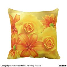 Orange&yellow flowers throw pillow