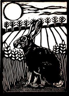 Hare lino print by Helen Maxfield Printmaking… Lino Art, Woodcut Art, Linocut Prints, Linoleum Block Printing, Linoprint, Wood Engraving, Tampons, Woodblock Print, Illustrations