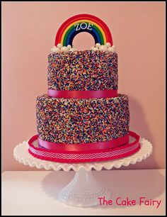 My beautiful niece, Zoe, turns 9 this month! We will celebrate tomorrow with this rainbow sprinkles cake. A HUGE thank you to Kate of The Greedy Baker for allowing me to copy her cake design and answering tons of my questions. I followed her tutorials to make both the cake and topper.