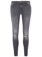 Womens **Tall Grey Graphite Rip Knee 'Darcy' Jeans- Grey
