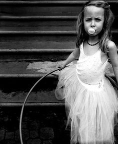 "Article - ""How to Be a Grown-Up."" (photography, photo, picture, image, beautiful, amazing, portrait, girl, ballerina, hula hoop, chewing gum, blowing bubbles, black and white, B&W)"