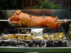 Roasting a pig.
